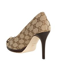 Gucci - Natural New Hollywood Peeptoe Horsebit Pumps - Lyst