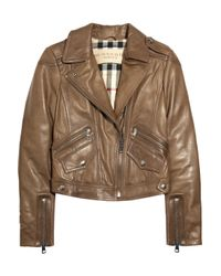 Burberry Brit | Brown Cropped Moto Leather Jacket | Lyst