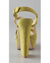 Pelle Moda | Green Billow Criss Cross Suede Platform Sandals | Lyst