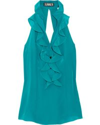 Sunner | Blue Florent Open-back Ruffled Silk Top | Lyst