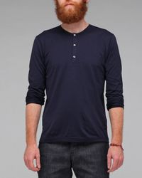 Sunspel | Blue Long Sleeve Henley for Men | Lyst