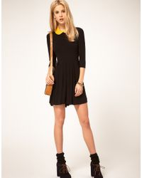 ASOS Collection - Black Asos Dress with Pleated Skater Skirt - Lyst