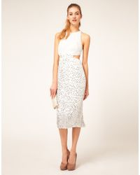 ASOS Collection - Natural Asos Embellished Midi Dress with Open Back - Lyst