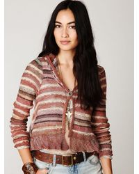 Free People | Natural Stripe Hooded Cardigan | Lyst