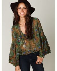 Free People | Green Peacock Crop Bell Sleeve Top | Lyst