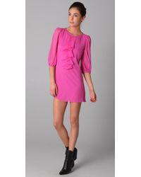 Tibi - Pink Ruffle Dress - Lyst