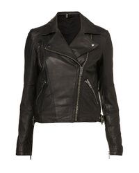 TOPSHOP | Black Traditional Biker Jacket | Lyst