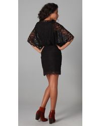 Beyond Vintage | Black Lace Batwing Mini Dress | Lyst