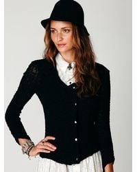 Free People   Black Lace Zip Jacket   Lyst