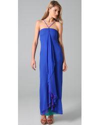 Halston | Blue Reverse Shark Gown | Lyst