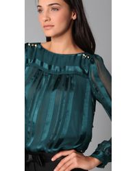 MILLY | Blue Piped Amia Boat Neck Blouse | Lyst