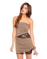 Nasty Gal - Brown Laced Drape Dress - Mocha - Lyst