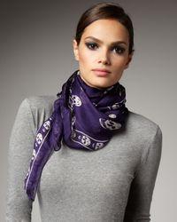 Alexander McQueen | Purple Skull-print Chiffon Scarf | Lyst