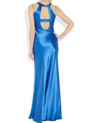 Amanda Wakeley | Blue Cutout Hammered Silk-satin Gown | Lyst