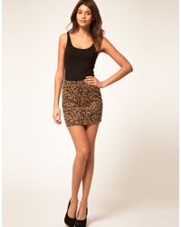 ASOS Collection - Multicolor Asos Animal Print Mini Skirt in Ponte - Lyst