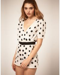 ASOS Collection - White Asos Playsuit in Sequin Spots - Lyst