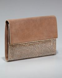 Balmain | Brown Easy Leather and Crystal Clutch | Lyst