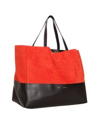 Céline - Pink Coral Suede and Leather Horizontal Bi-cabas Tote Bag - Lyst