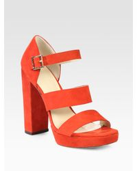 Elizabeth and James | Orange Suede Platform Sandals | Lyst