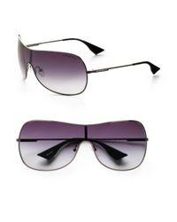 Emporio Armani | Gray Metal Shield Sunglasses for Men | Lyst