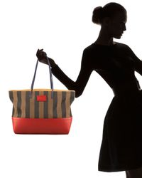 Fendi | Brown Red Leather and Striped Canvas Roll Tote | Lyst