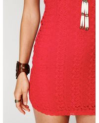Free People | Red Cap Sleeve Gypsy Lace Dress | Lyst