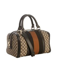 Gucci | Natural Diamante Canvas Vintage Web Striped Convertible Satchel | Lyst