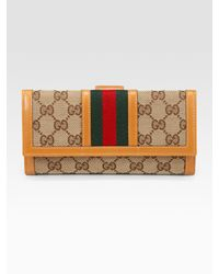 Gucci | Natural Ladies Vintage Web Continental Wallet | Lyst