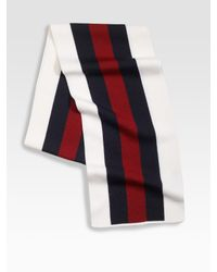 Gucci | Blue Web Detailed Crook Scarf for Men | Lyst