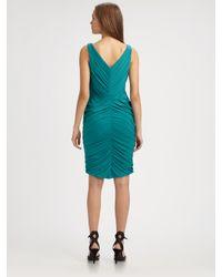 Halston | Blue Draped V-Neck Dress | Lyst