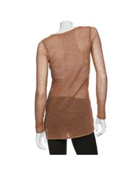Helmut Lang | Brown Open Weave Paper Wool Sweater | Lyst
