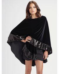 Ilana Wolf | Black Sequin Trim Velvet Cape | Lyst