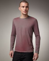 John Varvatos | Red Vertical Stitched Long-sleeve Tee for Men | Lyst
