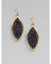 Kara Ross - Black Drusy Quartz Drop Earrings - Lyst