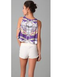 Mara Hoffman | Purple Swimwear Printed Half Top | Lyst