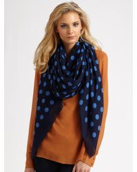 Marc By Marc Jacobs | Blue Hot Dot Silk & Cashmere Scarf | Lyst
