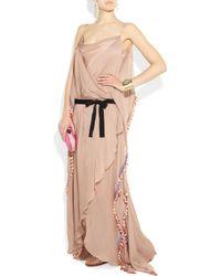 Matthew Williamson | Pink Hand-embellished Silk-chiffon Gown | Lyst
