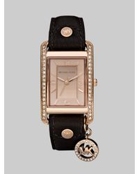 Michael Kors | Brown Rectangular Leather Strap Watch | Lyst