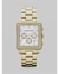 Michael Kors | Metallic Crystal Accented Rectangle Chronograph Watch/goldtone | Lyst