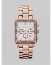 Michael Kors | Pink Crystal Accented Rectangle Chronograph Watch/rose Goldtone | Lyst