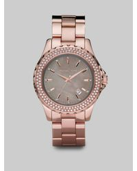 Michael Kors | Pink Rose Gold Stainless Steel & Crystal Watch | Lyst