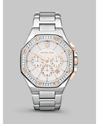 Michael Kors | Metallic Two-tone Crystal Chronograph Watch | Lyst