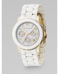 Michael Kors - Stainless Steel & White Rubber Chronograph Watch - Lyst
