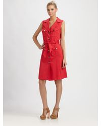 MILLY | Red Maggy Shirt Dress | Lyst