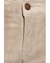 Notify - Natural Bamboo 75 Biker Mid-rise Suede Pants - Lyst