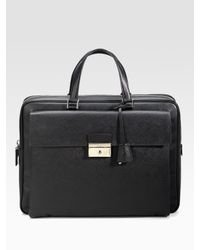 Prada | Black Saffiano Briefcase for Men | Lyst