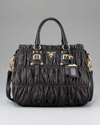 Prada | Black Napa Gaufre Shoulder Bag | Lyst