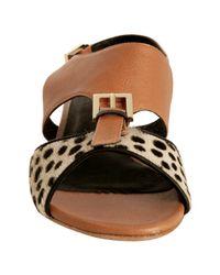 Rebecca Minkoff - Brown Almond Leather and Calf Hair Brooke Mini Wedge Sandals - Lyst