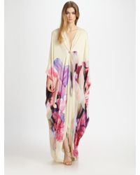 Roberto Cavalli | White Deep V Silk Caftan Gown | Lyst