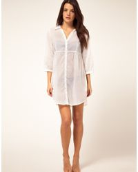 Seafolly | White Cotton Voile Beach Shirt Cover Up | Lyst